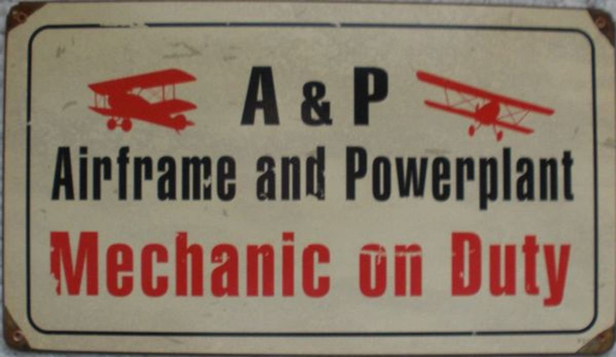 """A&P """"Mechanic On Duty"""" Metal Sign. measures 14"""" X 8"""""""