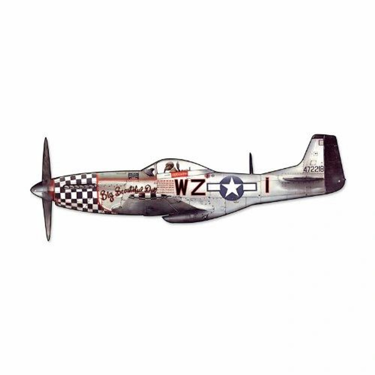 """North American Aviation P-51 Mustang Cutout Metal Sign. Measures 23 1/2"""" overall."""
