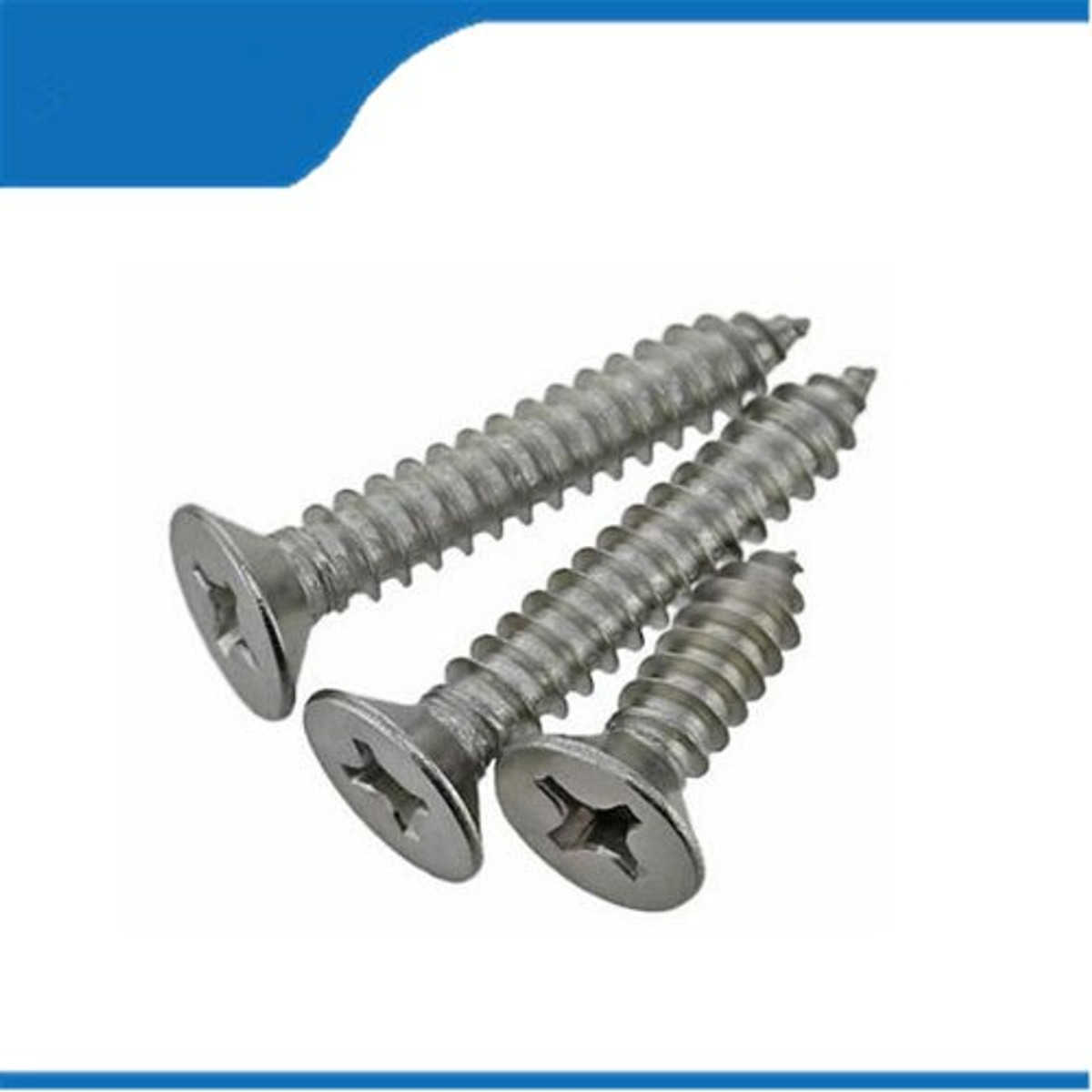 6 X 1/2 Sheet Metal Screw. Stainless Steel, Countersunk 82°. Phillips A Point