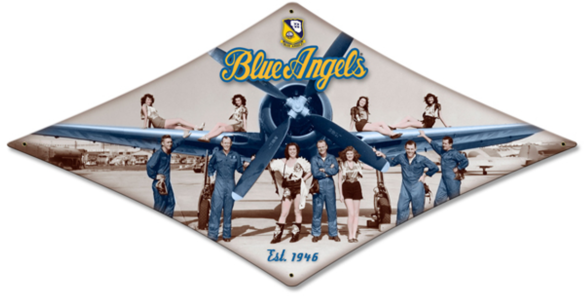 "BLUE ANGELS ""EST. 1946"" DIAMOND METAL SIGN Measures 18 x 11.5 inches sign."