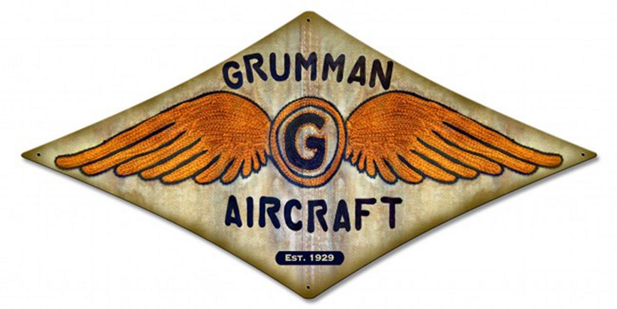 "GRUMMAN ""WINGS"" DIAMOND METAL SIGN Measures 18 x 9 inches sign."