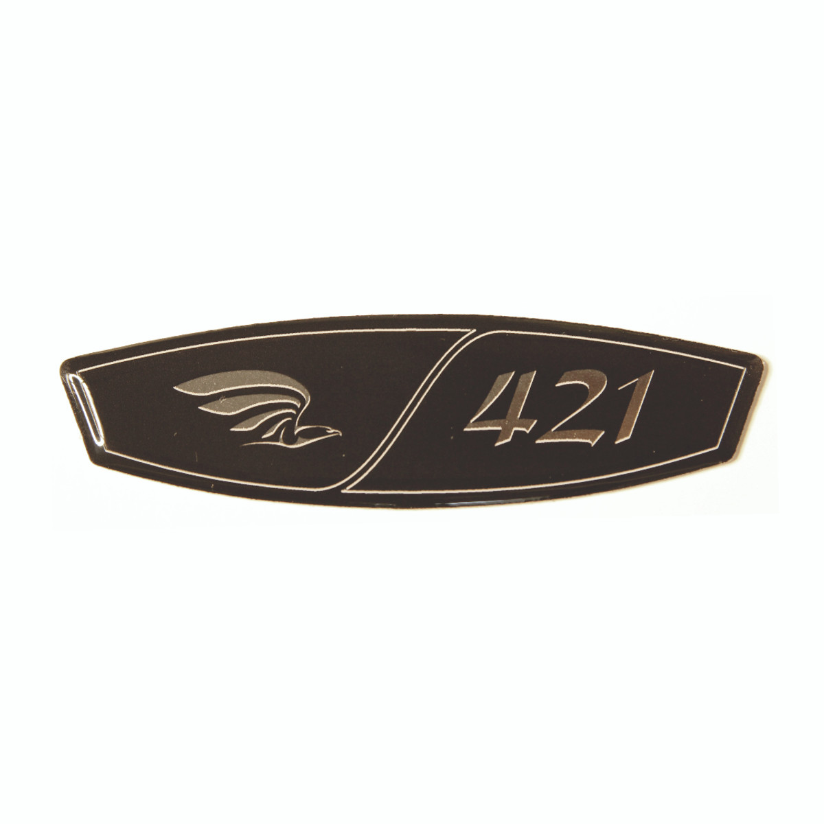 """A beautiful replacement for your original, damaged, or missing yoke emblems!   This is a beautiful domed black and silver peel-n-stick emblem, approximately 1"""" high, 3.5"""" wide, 1/32"""" thick.   Designed especially for our faux carbon fiber yoke center, but can be applied almost anywhere, installs in minutes."""