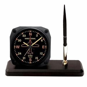 Vintage Directional Gyro Alarm Clock Desk Pen Set.