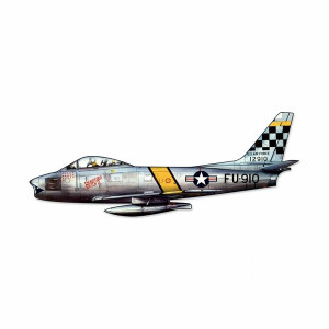 """North American Aviation F-86 Sabre Cutout Metal Sign. Measures 23 1/2"""" overall."""