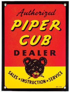 """Authorized Piper Dealer"" Porcelain Metal Sign. Measures 9"" X 12""."