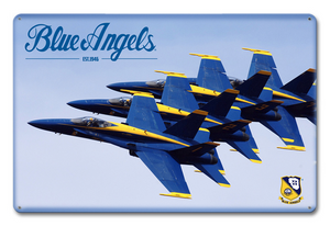 "BLUE ANGELS ""TOP STACKED"" METAL SIGN, Measures 12 x 18 inches sign."
