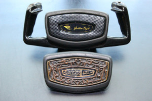 Replace your original, damaged, or missing yoke inserts with our new faux Carbon Fiber insert!   Includes beautiful domed Golden Eagle emblem (Does NOT Include Yoke or Padded Surround),  Faux Carbon Fiber insert is same size as your original piece; installation instructions included.