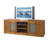 CAMEO (TVGSB2000) 2 DOOR STRAIGHT BASE LOWLINE TV UNIT WITH 2 DVD PULLOUTS AND TRANSLUCENT SAFETY GLASS - TASSIE OAK - 700(H) X 2000(W) - ASSORTED COLOURS AVAILABLE