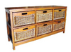 MEXICALI CANE STORAGE DRAWERS / CABINET (WIDE) WITH 6 DRAWERS  (MODEL 13-5-24-9-3-1-14-1) - AMERICAN HERITAGE