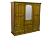 MUDGEE 2 PIECE TIMBER WARDROBE WITH 3 DOORS & 5 DRAWERS - 1800(H) X 1800(W) - ASSORTED COLOURS