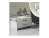 CLEOPATRA SELENE (8022) 2 DRAWER LEATHERETTE \ GLASS BEDSIDE TABLE - ASSORTED COLOURS