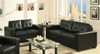 MANHATTAN 3 SEATER + 2 SEATER LEATHERETTE LOUNGE SUITE - BLACK