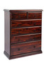 CRONULLA (CR3451) 6 DRAWER SPLIT TOP TALLBOY - 1100(H) x 900(W) - BALTIC , WALNUT (PICTURED), GREYWASH OR NUTMEG