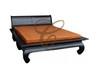 QUEEN SHANGHAI (BS 000 OL QS)  BED WITH OPIUM LEGS - CHOCOLATE