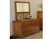 DAKOTA 6 DRAWER DRESSING  TABLE WITH MIRROR  ( MODEL - 4-5-22-15-14-16-15-18-19) - 800(H) X 1400(W) - CHESTNUT OR WALNUT