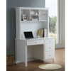 EMPRESS SINGLE OR KING SINGLE 4 PIECE STUDENT BEDROOM SUITE WITH STUDY DESK & HUTCH (2-18-15-4-9-5) - WHITE