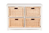 BALINESE SQUARE CANE STORAGE DRAWERS (DET700 WH) - WHITE / NATURAL