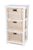 BESSY RATTAN STORAGE WITH 3 DRAWERS (RDB783) - WHITE FRAME /  NATURAL BASKET