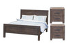 EDISON  QUEEN 3  PIECE  BEDSIDE BEDROOM SUITE - BRUSHED BROWN