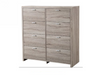ARIZONA / INDIANA TIMBERGRAIN 8 DRAWERS TALLBOY -  LIGHT OAK
