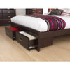 KING ANGELO BED WITH 2X UNDERBED STORAGE DRAWERS  (OR-76-1) - DARK CHOCOLATE