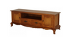 FRENCH PROVINCIAL ENTERTAINMENT UNIT WITH 2 DARWERS AND 2 DOORS (EU 202 FP) - 580(H) x 1680(W) - LIGHT PECAN