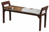 DACEY DOUBLE BENCH WITH GOAT HIDE SEAT - 640(H) X 1300(W)-MAHOGANY