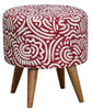 RAILEY ROUND OTTOMAN - COTTON BLEND FABRIC/SOLID TIMBER -  430(H) X 400(W) - BLUE, GREEN, RED AND ORANGE