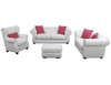 CHESTERFIELD 3 SEATER FABRIC WITH CUSHION - NATURAL