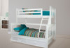 AWESOME (MODEL 6-15-18-20-5) TRIO BUNK BED WITH MATCHING SINGLE FITTED FACED TRUNDLE BED - ARCTIC WHITE