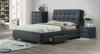 KING MYERS 4 PIECE TALLBOY FABRIC BEDROOM SUITE - GREY