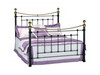 DOUBLE ASHERTON STEEL BED - BLACK POWDER COAT & SHINY BRASS FEATURES