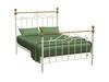 DOUBLE  EDMONSON STEEL COATED  BED  (5-12-12-5-14-4-15-14) - CREAM POWDER COAT & SHINY BRASS