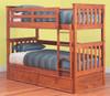 SINGLE OVER SINGLE AWESOME (MODEL 6-15-18-20-5) BUNK BED - EXCLUDING TRUNDLE - TEAK
