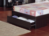 KING SINGLE JIGSAW BED FRAME WITH BEDEND STORAGE DRAWER  - WALNUT