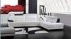 ROMEO LEATHERETTE 3 SEATER + LHS/RHS CHAISE - WHITE WITH BLOCK