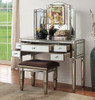 ROCHEST DRESSING TABLE WITH MIRROR & STOOL - 800(H) X 1280(W) - ANTIQUE SILVER FRAME