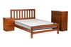 FLETCHER DOUBLE OR QUEEN 3 PIECE (BEDSIDE) BEDROOM SUITE - GOLDEN BROWN