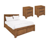 ALPINE  KING  3 PIECE BEDSIDE BEDROOM SUITE   - GOLDEN WALNUT