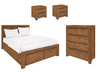 ALPINE  KING 4  PIECE TALLBOY BEDROOM SUITE   - GOLDEN WALNUT