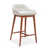 DASH LEATHERETTE  BAR STOOL  -  SEAT 670(H) - WHITE + WALNUT