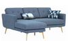STREAM 3 SEATER FABRIC UPHOLSTERED SOFA WITH  LEFT CHAISE - SEAL GREY