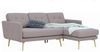 STREAM 3 SEATER FABRIC UPHOLSTERED SOFA WITH  RIGHT CHAISE - OAK BROWN