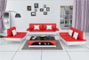 MALIC PVC + 2 GLASS COFFEE TABLE - 420(H) X 1200(W) X 700(D) - AS PICTURED