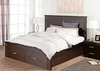 RUSTIC KING 3  PIECE BEDSIDE   BEDROOM  SUITE  - DARK CHOCOLATE