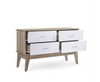 BARTEL SCANDINAVIAN  LOWLINE CHEST  WITH 4 DRAWER - 730(H) X 1200(W) - OAK + WHITE