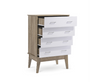 BARTEL 4 DRAWER TALLBOY    -110(H) X 800(W) -  OAK + WHITE