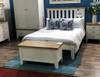 DOUBLE ARBETTA (TT-46-W) BED FRAME ONLY - BRIGHT WHITE  / LIGHT OAK (2 TONE)