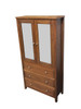PERFECTION  2 DOOR / 3  DRAWER DISPLAY UNIT WITH 2 GASS SHELVES -   (MODEL - EU292) - DARK OAK