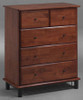 FRANKLIN 5 DRAWER TALLBOY - ANTIQUE OAK / PLATINUM BLACK